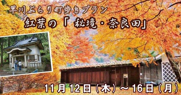 早川ぶらり町歩きプラン 紅葉の「秘境・奈良田」